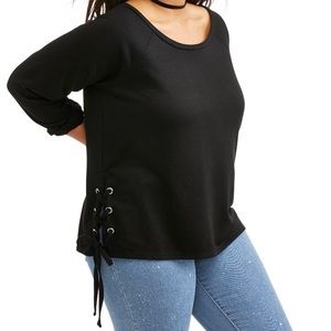 Tops - Plus size Juniors side lace up top